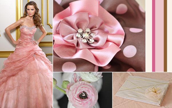 Decoratiuni in culori rozii la nunta