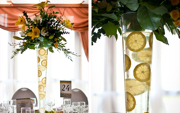 Amanunt vaza flori cu lamai si aranjament nunta Irina si Catalin